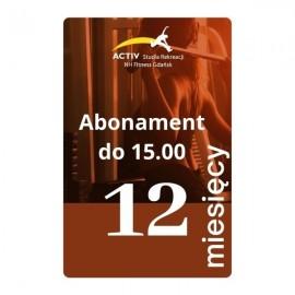 1 M-C GRATIS-Karnet 12-miesięczny abonamentowy do 15.00 (wszystkie kluby)